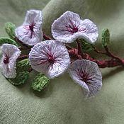 "Brooches handmade. Livemaster - original item Embroidered brooch ""Cherry snowstorm"". Handmade."