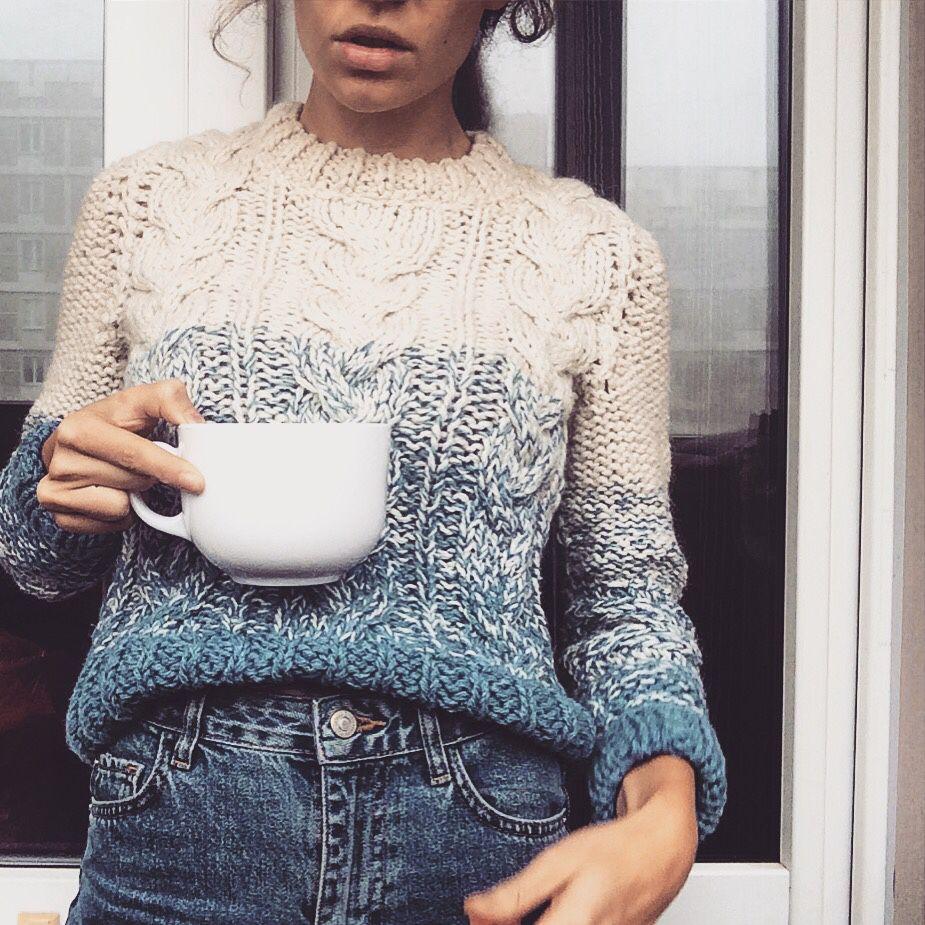 свитер женский вязаный свитер с косами свитер градиент купить