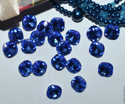Для украшений ручной работы. Ярмарка Мастеров - ручная работа. Купить Стразы подушечка 12 мм синий. Handmade. Синий