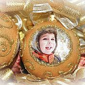 Подарки к праздникам ручной работы. Ярмарка Мастеров - ручная работа Елочные шары с личным фото. Handmade.