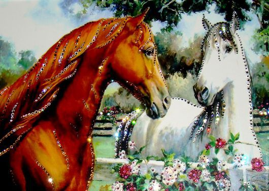 """Животные ручной работы. Ярмарка Мастеров - ручная работа. Купить """"Пара коней"""". Handmade. Разноцветный, лошади, Сваровски, стразы"""