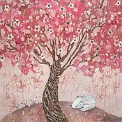 Картины и панно ручной работы. Ярмарка Мастеров - ручная работа Розовые сны ( батик панно). Handmade.