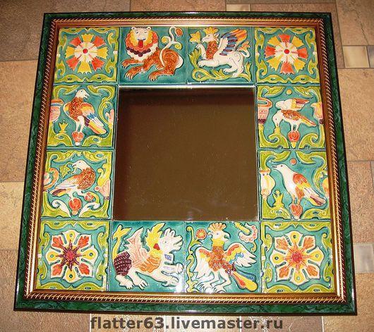 Зеркала ручной работы. Ярмарка Мастеров - ручная работа. Купить зеркало в изразцах. Handmade. Украшение интерьера, декоративное зеркало, керамика