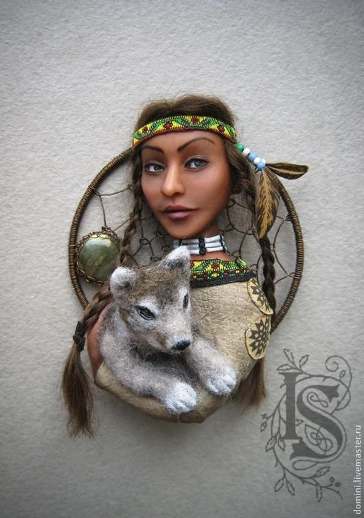 """Броши ручной работы. Ярмарка Мастеров - ручная работа. Купить Брошь """"Волчица"""". Handmade. Коричневый, индейский стиль, племя"""