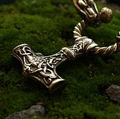 Украшения handmade. Livemaster - original item The wild and the Thor`s Hammer amulet on the neck of bronze and genuine leather. Handmade.