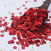 Материалы для творчества handmade. Livemaster - original item Sequins 3 mm No. №19 Red semi-matt 2 g. Handmade.