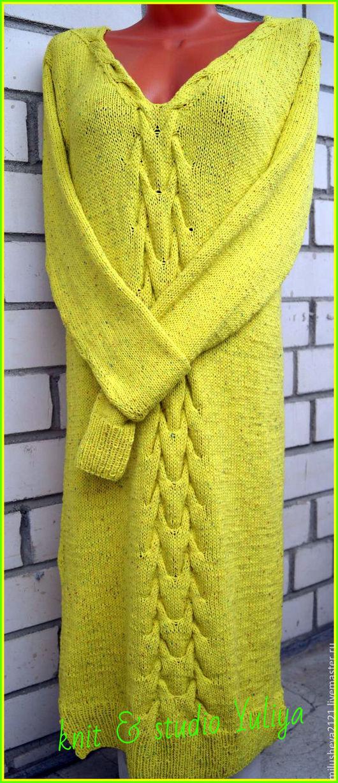 Шапки ручной работы. Ярмарка Мастеров - ручная работа. Купить Желтое платье.. Handmade. Желтый, однотонный, стильноеплатье, связановсмоленске, knit