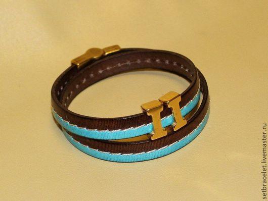 Браслеты ручной работы. Ярмарка Мастеров - ручная работа. Купить Кожаный браслет, коричневый с голубым. Handmade. Коричневый, браслет из кожи