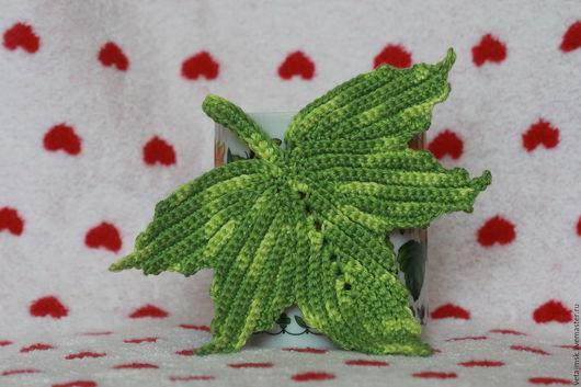 """Кухня ручной работы. Ярмарка Мастеров - ручная работа. Купить Комплект подставок под кружку """"Кленовые листья"""". Handmade. Зеленый"""