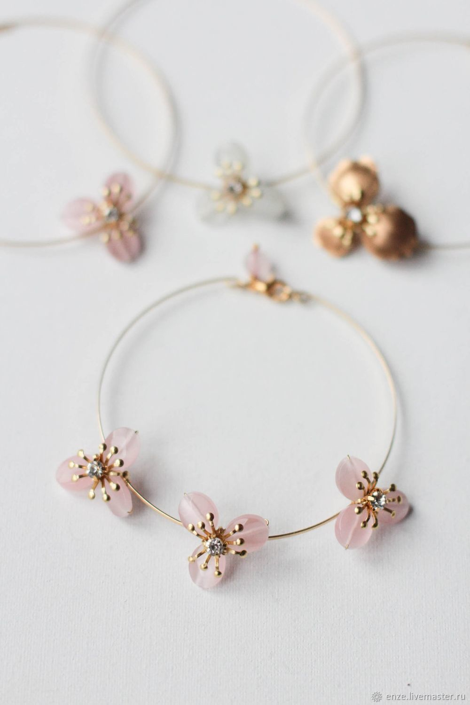 Минималистичный браслет с нежно розовыми кристаллами, Браслеты, Санкт-Петербург,  Фото №1