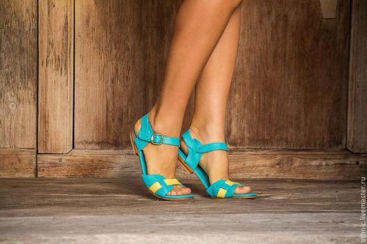 Обувь ручной работы. Ярмарка Мастеров - ручная работа. Купить Босоножки из натуральной кожи Jess II. Handmade. Бирюзовый