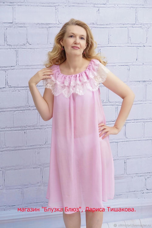 c70a9ce02814 Ночная сорочка из розового батиста Ярославна, подарок подруге – купить в ...