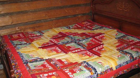"""Текстиль, ковры ручной работы. Ярмарка Мастеров - ручная работа. Купить Лоскутное одеяло-покрывало """"Красно солнце"""". Handmade."""