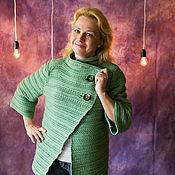 Одежда ручной работы. Ярмарка Мастеров - ручная работа Вязаный крючком теплый жакет. Handmade.