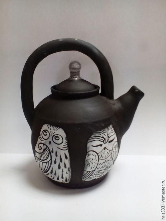 """Чайники, кофейники ручной работы. Ярмарка Мастеров - ручная работа. Купить Чайник """" Белое на черном"""". Handmade. Черный, кофе"""