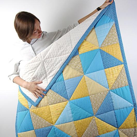 Пледы и одеяла ручной работы. Ярмарка Мастеров - ручная работа. Купить Одеяло с желто-синими треугольниками. Handmade. Желтый