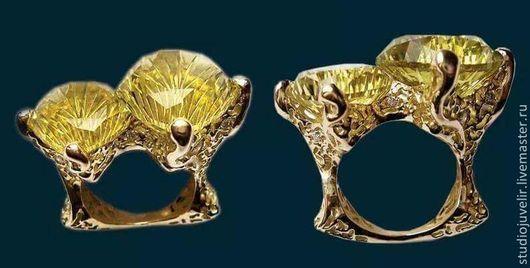 Кольца ручной работы. Ярмарка Мастеров - ручная работа. Купить Золотое кольцо 585 пробы с цитринами. Handmade. Желтый, золото