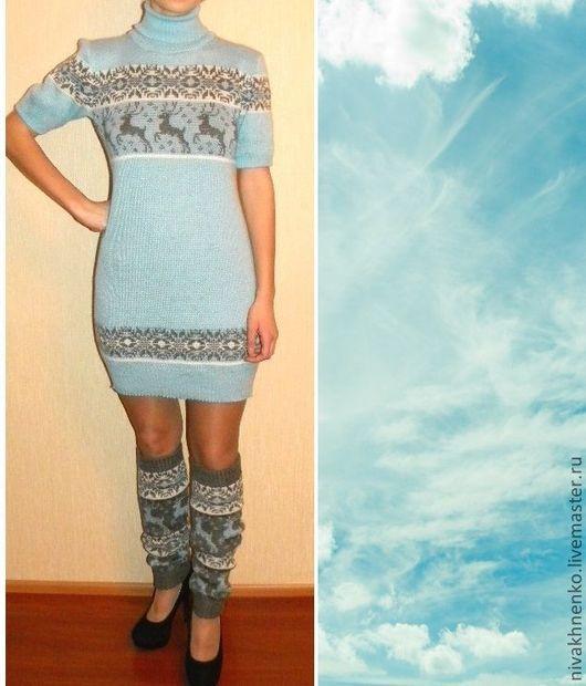 Dresses handmade. Livemaster - handmade. Buy Knitted tunic dress with Norwegian ornament.Dress knitted, knitting to order