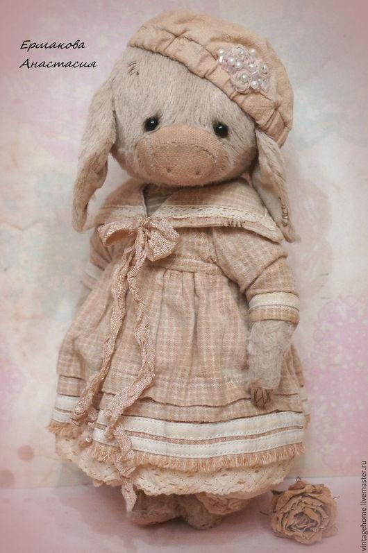 Мишки Тедди ручной работы. Ярмарка Мастеров - ручная работа. Купить Элли. Handmade. Бледно-розовый, хрюшки, стеклянные глазки