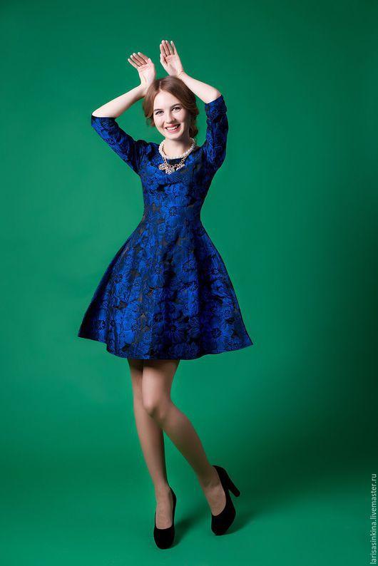 Платья ручной работы. Ярмарка Мастеров - ручная работа. Купить Платье из тафты (П021). Handmade. Тёмно-синий, платье коктейльное