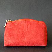 Сумки и аксессуары handmade. Livemaster - original item Cosmetic bag red suede. Handmade.