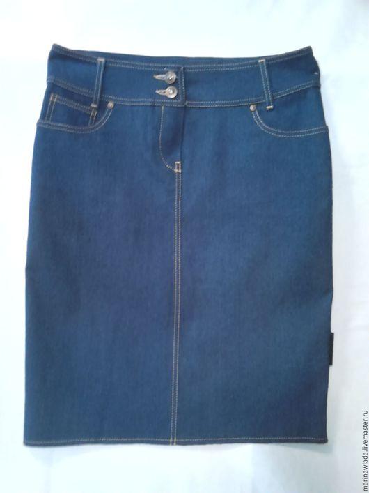 Юбки ручной работы. Ярмарка Мастеров - ручная работа. Купить Юбка джинсовая прямая. Handmade. Тёмно-синий, юбка, джинс
