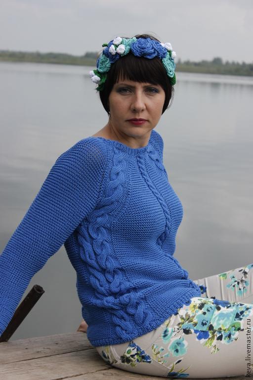 Кофты и свитера ручной работы. Ярмарка Мастеров - ручная работа. Купить Королева цветов. Handmade. Тёмно-синий, ободок для волос