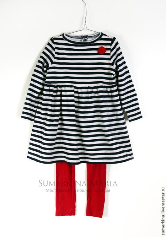 Одежда для девочек, ручной работы. Ярмарка Мастеров - ручная работа. Купить Детское  платье и легинсы из трикотажа в морском стиле.. Handmade.