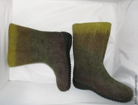 Обувь ручной работы. Ярмарка Мастеров - ручная работа. Купить валенки зелененькие. Handmade. Валенки ручной работы, обувь для улицы