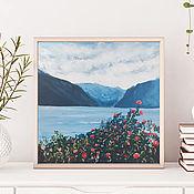 Картины ручной работы. Ярмарка Мастеров - ручная работа Картина пейзаж с цветами картина озеро интерьерная стильная картина. Handmade.