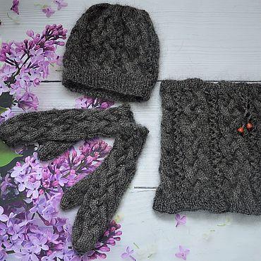 Аксессуары handmade. Livemaster - original item Set down Hat, LIC, Mittens. Handmade.