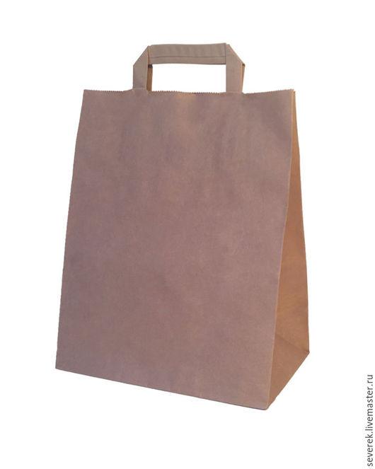 Упаковка ручной работы. Ярмарка Мастеров - ручная работа. Купить Крафт пакет большой 32х17х43 с плоскими ручками. Handmade. Коричневый, упаковка