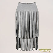 Одежда handmade. Livemaster - original item Skirt with fringe in 2 layers of genuine suede. Handmade.