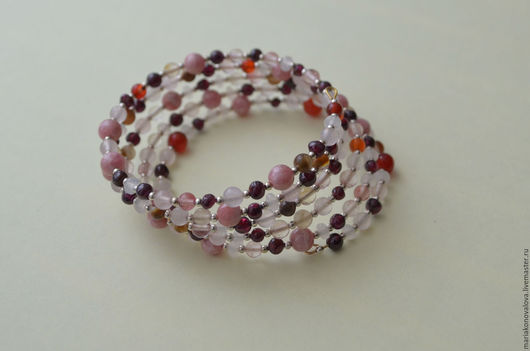Браслеты ручной работы. Ярмарка Мастеров - ручная работа. Купить Браслет розовый, натуральные камни. Handmade. Комбинированный, браслет из камней