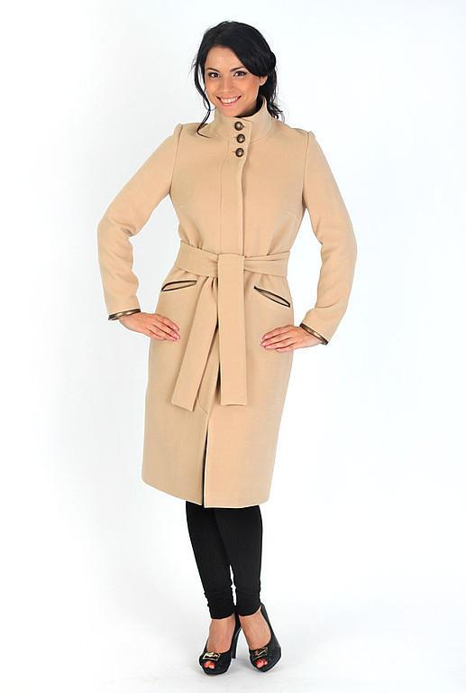 Верхняя одежда ручной работы. Ярмарка Мастеров - ручная работа. Купить Пальто с кожаными деталями. Handmade. Бежевый, осенняя мода