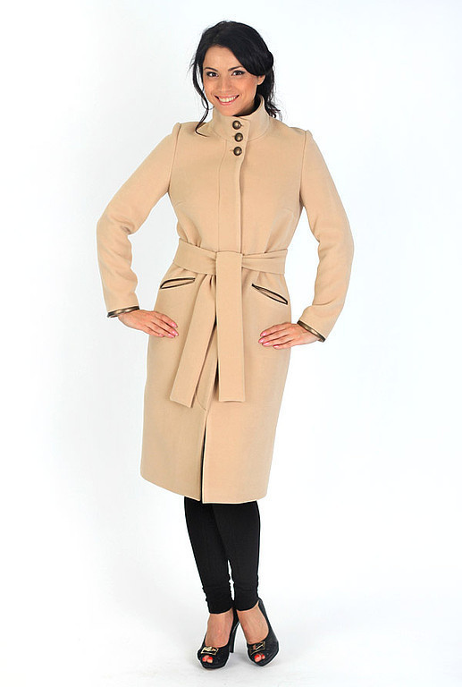 Outer Clothing handmade. Livemaster - handmade. Buy coat with leather details.Beige, autumn fashion