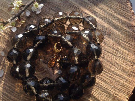 Винтажные украшения. Ярмарка Мастеров - ручная работа. Купить Бусы, дымчатый топаз, хрусталь, имитация, винтаж. Handmade. Бусы из камней