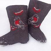 Обувь ручной работы. Ярмарка Мастеров - ручная работа Валенки  Снегири прилетели. Handmade.
