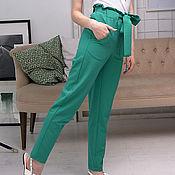 Одежда handmade. Livemaster - original item Green women`s banana pants, high-waisted summer trousers. Handmade.