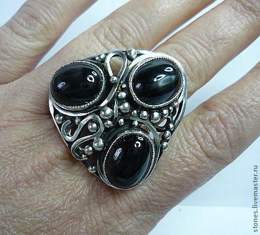 """Кольца ручной работы. Ярмарка Мастеров - ручная работа. Купить Макси-кольцо """"BLACK STARS"""", (диопсид).. Handmade. Серебряный, для женщины"""