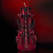 Свечи ручной работы. Ярмарка Мастеров - ручная работа Резная свеча в готическом стиле. Свадьба. Кроваво-красный. Handmade.