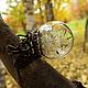 Кольцо с одуванчиками `Память о лете`. Диаметр стеклянного шара - 2,5 см. Кольцо безразмерное.