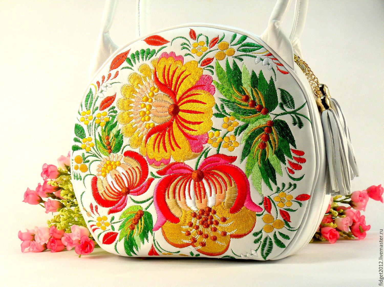 Handbags handmade. Livemaster - handmade. Buy Leather embroidered bag
