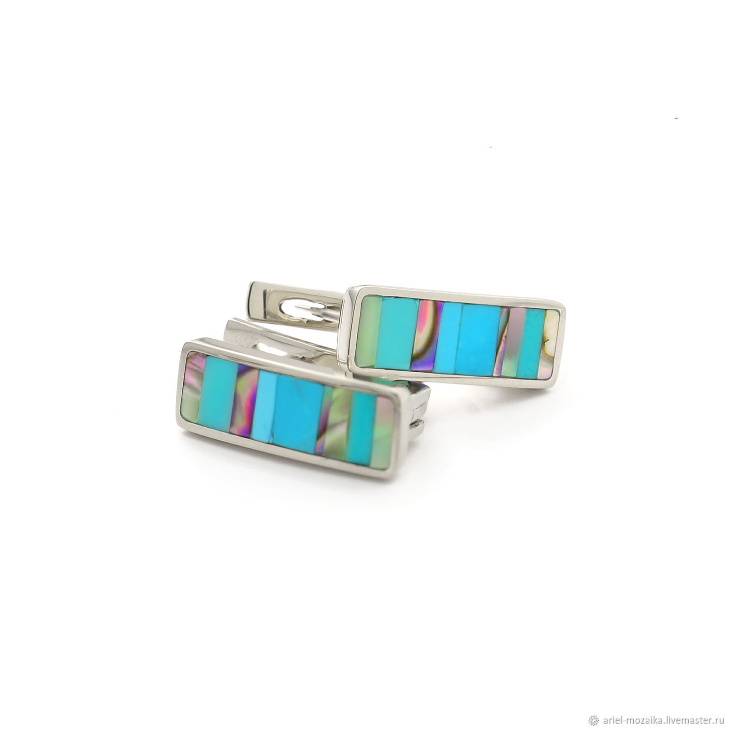 Earrings with turquoise and mother of pearl. Earrings huggie, Earrings, Moscow,  Фото №1