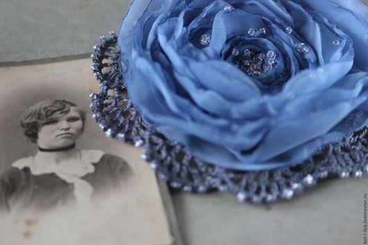 Роза Брошь Брошь цветок Брошь роза Брошь из ткани Брошь купить Серо-голубой Серый