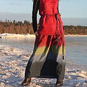 """Одежда ручной работы. Ярмарка Мастеров - ручная работа Льняная ярусная  юбка в пол  """"Зимняя ягода """". Handmade."""