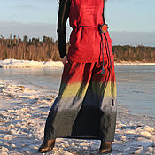 Одежда handmade. Livemaster - original item Linen tiered skirt in floor