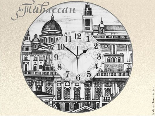 """Часы для дома ручной работы. Ярмарка Мастеров - ручная работа. Купить Часы настенные """"Сердце Италии"""" круглые для гостиной. Handmade."""