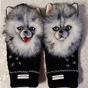 Mittens handmade. Livemaster - original item Handmade mittens with Spitz.. Handmade.