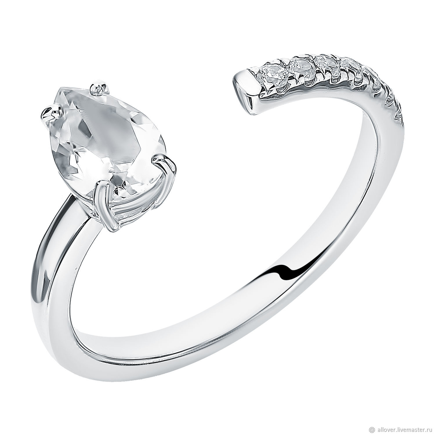 Drop ring with rock crystal, Rings, Moscow,  Фото №1